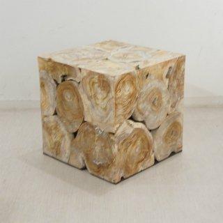 チーク キューブ型 木製 ブロックスツール ホワイトウォッシュ