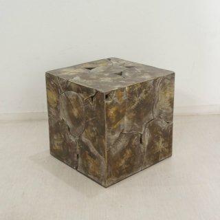チーク キューブ型 木製 ブロックスツール ダークウォッシュ