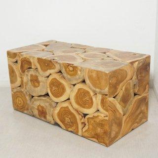 チーク 木製 ブロックスツール ロング ナチュラル