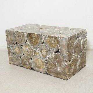 チーク 木製 ブロックスツール ロング ダークウォッシュ