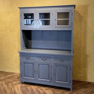 アンティーク調 マホガニー カップボードキャビネット 食器棚 W1250 グレー