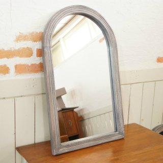 アンティーク調 木枠 ミラー 壁掛け鏡  アーチフレーム シャビーグレー