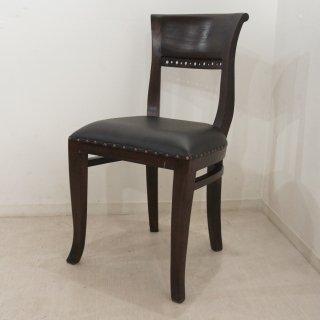 アンティーク調 キパスチェア ダイニングチェア 合皮座面 チーク 木製椅子 ダイニング カフェ ダーク Type3
