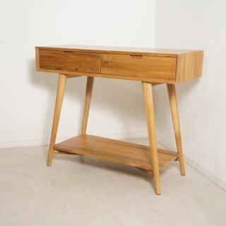 北欧スタイル チーク無垢材 テーブルチェスト 抽斗2杯 W100cm