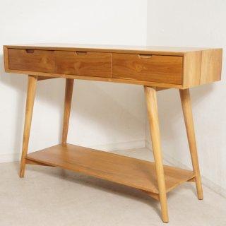 北欧スタイル チーク無垢材 テーブルチェスト 抽斗3杯 W120cm