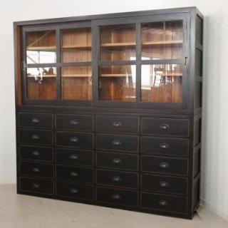 アンティーク調 特大 食器棚キャビネット ブラック type2 店舗什器