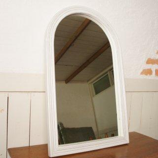 アンティーク調 木枠 ミラー 壁掛け鏡  アーチフレーム ホワイト