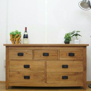 【送料無料】アンティーク調 木製 無垢材 リビングチェスト 飾り棚 3段 7杯 W120 ナチュラル