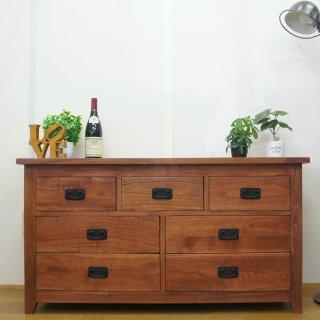 【送料無料】アンティーク調 マホガニー無垢 リビングチェスト 飾り棚 3段 7杯 W120 マホガニー