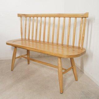 【送料無料】ミンディ無垢 背有 木製ベンチ 長椅子 カントリー家具 W120 ナチュラル