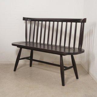 【送料無料】ミンディ無垢 背有 木製ベンチ 長椅子 カントリー家具 W120 ダーク