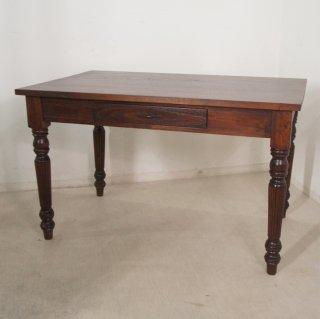 【送料無料】アンティーク調 ミンディ無垢 引き出し2杯 木製 ダイニングテーブル W120cm ウォールナット