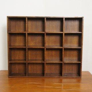 ミンディ 木製小物入れ トレイ 升箱 木箱 飾り棚 16マス ウォールナット