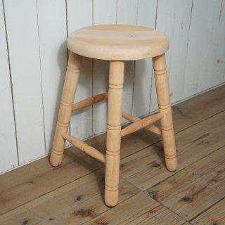 英国アンティーク調 西洋 スツール マホガニー無垢材 丸椅子 未塗装