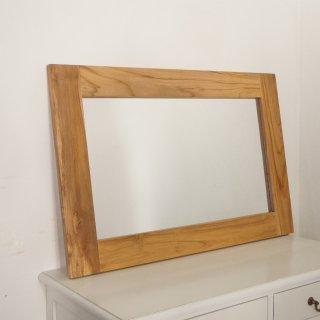 チーク無垢 木製フレーム 壁掛け 立てかけミラー 90×60