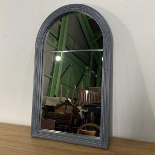アンティーク調 木枠 ミラー 壁掛け鏡  アーチフレーム グレー