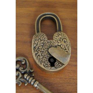 アンティーク調 ブラス 鍵 南京錠 細長 バティック柄 鍵付属 パドロック