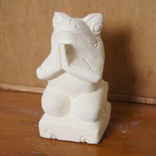 パラス石 石彫り バリ島 アジアン オブジェ 置物 カエル 15cm Type1