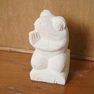 パラス石 石彫り バリ島 アジアン オブジェ 置物 カエル 15cm Type2