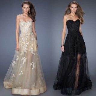 ゴージャスな刺繍とシースルースカートが魅力的なロングキャバドレス