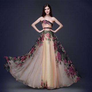 ゴージャスな大判花柄とエアリーシフォンが目を惹くキャバドレス