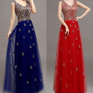 ゴージャスな刺繍と煌スパンコールのシースルーナイトドレス