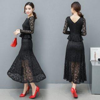 ペプラム×マーメイドスカートがフェミニンなキャバドレス