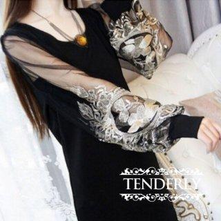 シースルー刺繍スリーブがオリエンタルでセクシーなキャバドレス