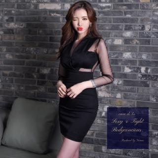 透け魅せシースルー&深めのVカットでWセクシーなタイトドレス