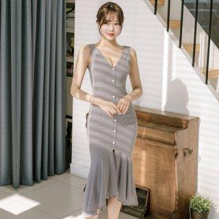スカートデザインがキュートなギンガムチェックのマーメイドワンピ