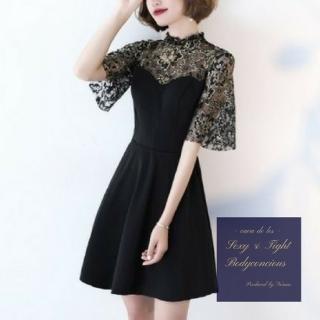 繊細な刺繍がゴージャスな花柄切り替えタイトドレス