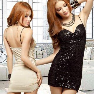 スパンコールの煌めきデザインが華やかなボディコンキャバドレス