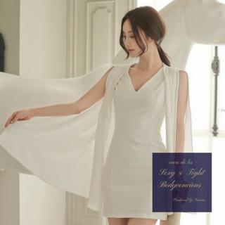 ロングの透け感シースルー袖がDressyなタイトキャバドレス