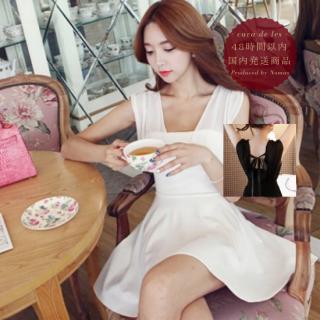 【即納】バックリボン&ギャザースカートがキュートなミニ丈ワンピース 2色