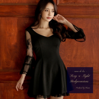 フリル×シースルーの袖と裾でWキュートなAラインのミニドレス