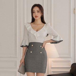 胸元&袖のボリューミーなフリルが可愛いセットアップ風ボディコンワンピ