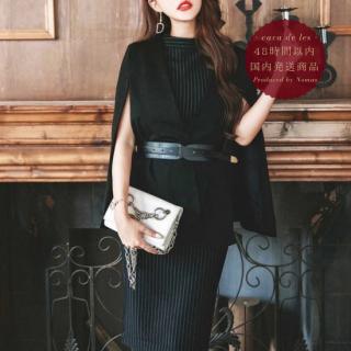 【即納】腕魅せデザインがスタイリッシュなストライプ柄スカートセットアップ スーツ