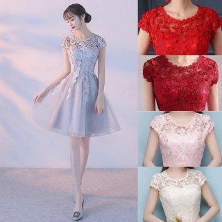 花柄刺繍レースから広がるチュールスカートがキュートなタイトドレス