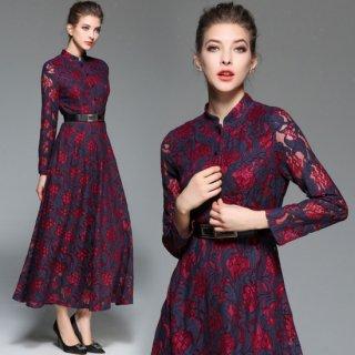 結婚式二次会やパーティーに♪繊細な花柄刺繍レースがエレガントなタイトドレス