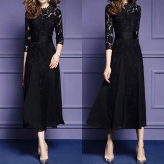 花柄刺繍の総レースがオトナかわいい七分袖のカジュアルロングドレス