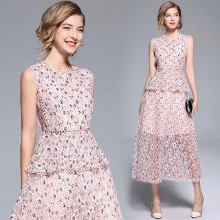 花柄刺繍の透け感総レースがオトナかわいいノースリーブのペプラムドレス