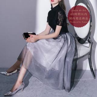【即納】黒レースのウエスト切り替えから広がるチュールスカートがかわいいバイカラードレス