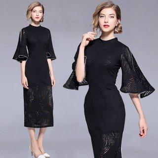 総柄の透け感が大人エレガントなベルスリーブのカジュアルタイトドレス フォーマル