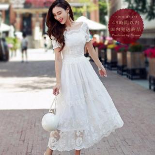 【即納】アンティーク風ホワイトレースの半袖ロングドレス