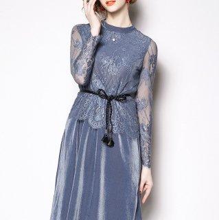 繊細な花柄レースがオトナかわいいウエストリボン付き長袖ワンピース ドレス