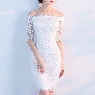 白の肩開きで上品かつセクシーな花柄総レースの袖ありボディコンドレス 3色