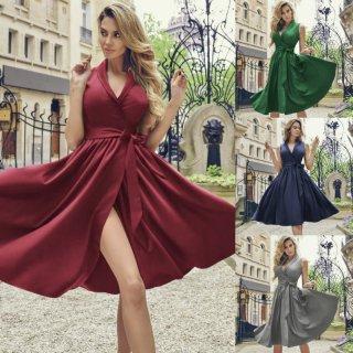 たっぷりギャザーのAラインスカートがかわいいウエストリボンのロングワンピース 4色
