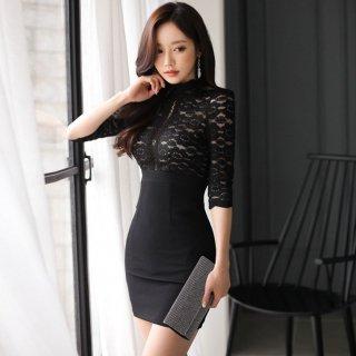 透かし彫りレースが上品セクシー 黒の袖ありボディコンミニキャバドレス