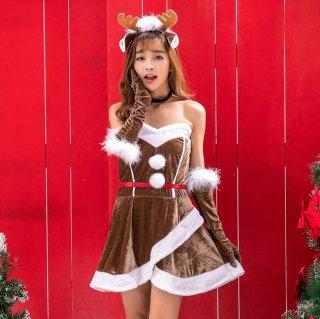 クリスマスパーティーやイベント衣装に ベアトップがセクシーなトナカイコスプレの6点セットアップ