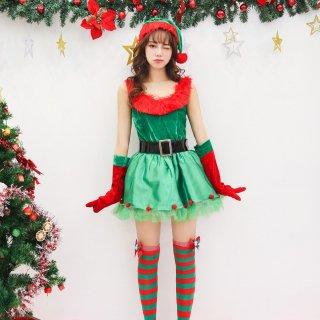 クリスマスパーティーやイベント衣装に 赤と緑のカラーがキュートなサンタコスプレ4点セット